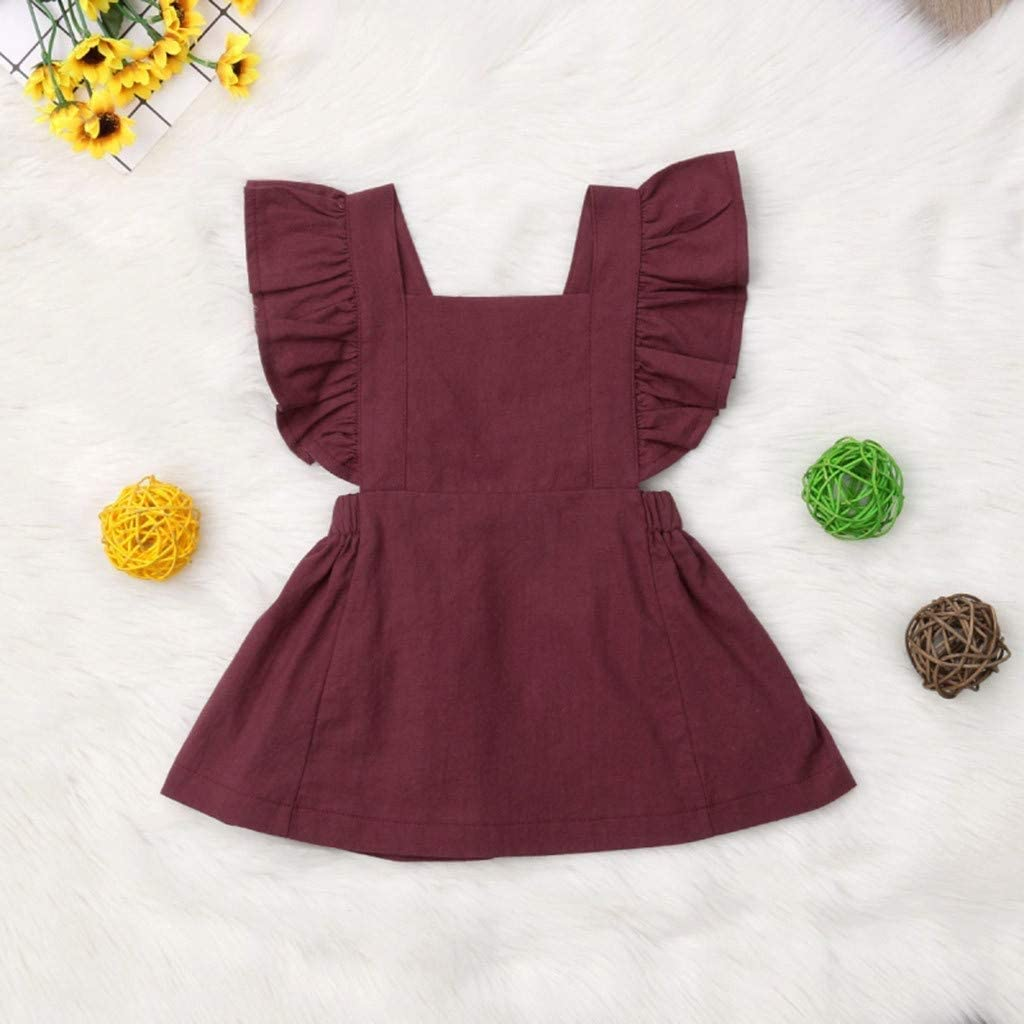 FCQNY Newborn Baby Girl Ruffle Sleeve Rompers Backless Bodysuits Jumpsuits Dress Color : Wine, Size : Large