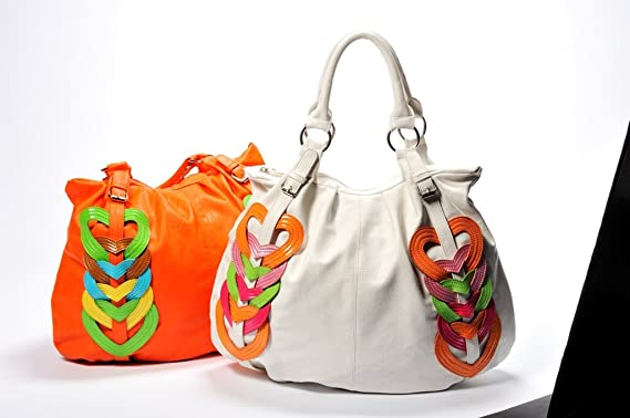 Ladies designer ouch london white hobo handbag with applique