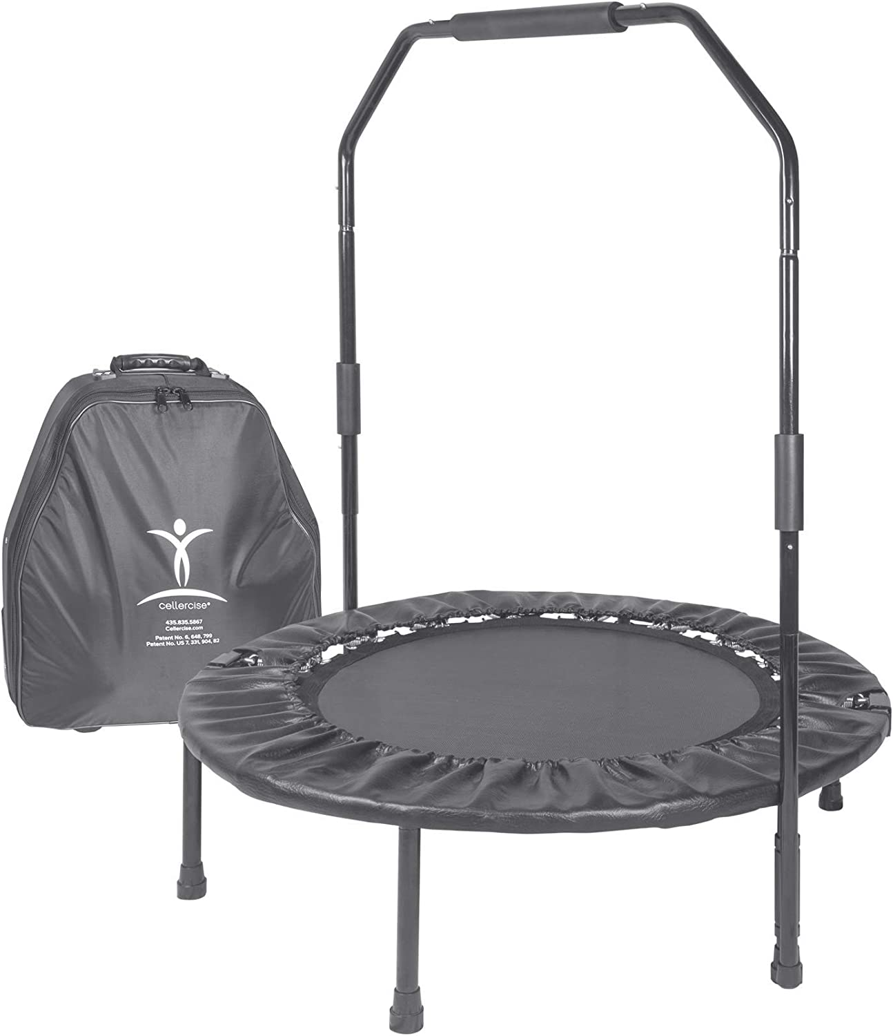 Cellerciser TRI-FOLD Rebounder Kit – Includes Stabilizing Bar and Wheeled Carrying Case