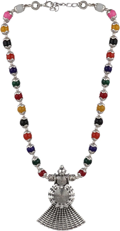 Efulgenz Boho Vintage Antique Ethnic Gypsy Tribal Indian Oxidized Silver Black Beaded Statement Tassel Pendant Necklace Jewelry