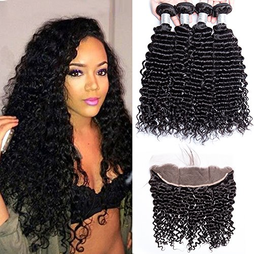 Maxine 10A Brazilian Hair Deep Curly Wave Hair 3 Bundles with 13x4 Ear to Ear Full Lace Frontal Closure Brazilian 10A Virgin Human Hair Extensions Kinky Curly Natural Color(18 18 20 with Frontal 16)