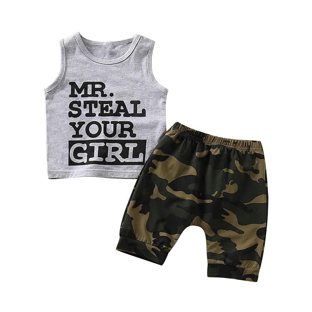 BOBORA Toddler Baby Boy Summer Clothing Set Big Eyes Sleeveless Top Short Pants Clothes Outfits Set 0-4Years
