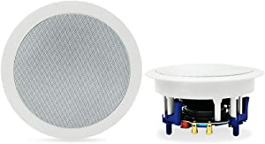 "Herdio 5.25"" Bluetooth Flush Mount in-Ceiling 2-Way Universal Home Speaker System 300 Watts Perfect for Humid Indoor Outdoor, Kitchen,Bedroom,Bathroom,Home Theater,Covered Porches A Pair"
