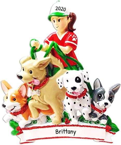 Walker Christmas Parade 2021 Amazon Com Personalized Dog Walker Christmas Tree Ornament 2021 Pet Sitter Girl Walking Many Dogs First Job Puppy Parade Care Love Profession Best Daily Exercise Breed Expert Park Gift Free Customization