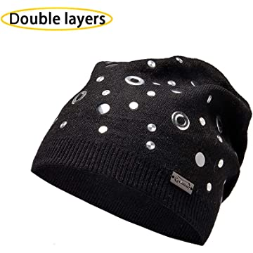 3f2bd85e4dd Unique Steampunk Wool Slouchy Beanie Knit Hats for Women Double Layers  Winter Skull Caps