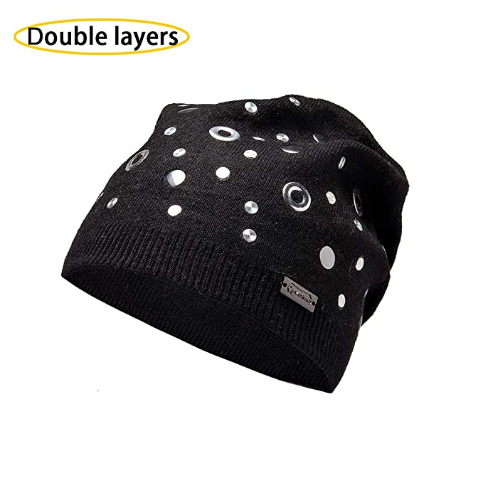 811b1482e561b3 LADYBRO Rivet and Eyelets Double Layers Wool Slouchy Beanies Knitted Hats  for Women Punk Caps (