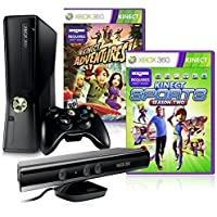Microsoft Xbox 360 4GB + Kinect + Kinect Adventures + Kinect Sports 2 Negro Wifi - Videoconsolas (Xbox 360, Negro, 512 MB, Flash, 4 GB, DVD)