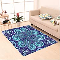 Nalahome Custom carpet y Indian Inspired Decoration with Ivy Flowers Round Shapes Art Indigo Teal Cadet Blue Slate Blue area rugs for Living Dining Room Bedroom Hallway Office Carpet (2 X 3)