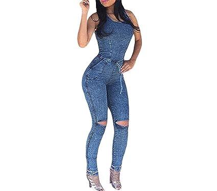 ef0412c28ccc Puissant Fashion Denim Jumpsuit Long Pants Bodysuit Blue Jean Jumpsuits for Women  Fall Outfits One Piece