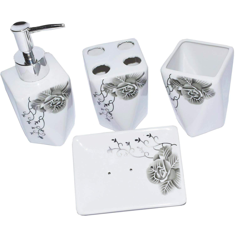 ROSE CREATE White Ceramic Flowers Bathroom Accessory Set, Liquid ...