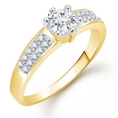 Meenaz Solitaire Ring Valentine Love Single Stone Ring For Girls U0026 Women In  American Diamond Cz