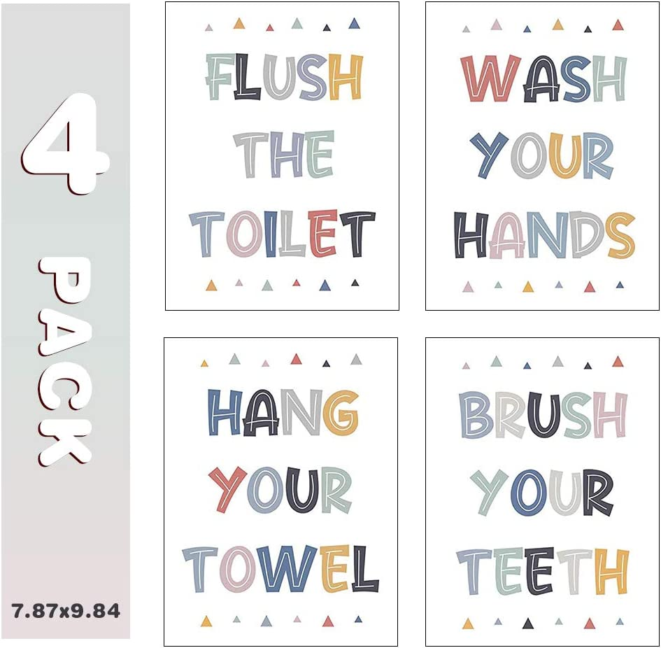 Colorful Bathroom Rules Print, Kids Toilet Washroom Canvas Wall Art, Kids Bathroom Decor (Set of 4, 8x10in, Unframed)