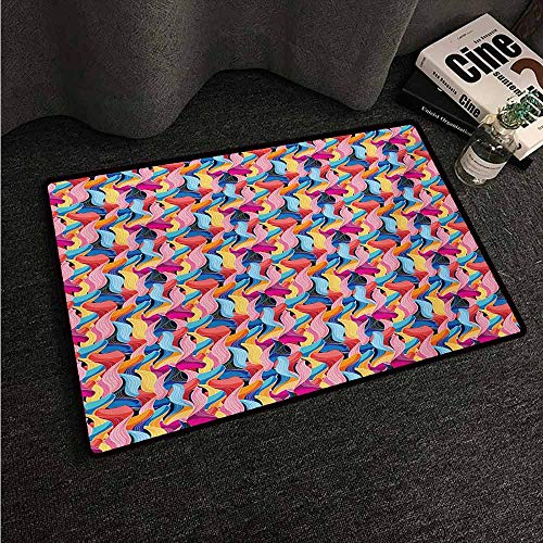 HCCJLCKS Non-Slip Door mat Colorful Abstract Graphic Pattern of Unusual Ornamental Waves Flow Continuity Creativity Easy to Clean Carpet W35 xL59 Multicolor