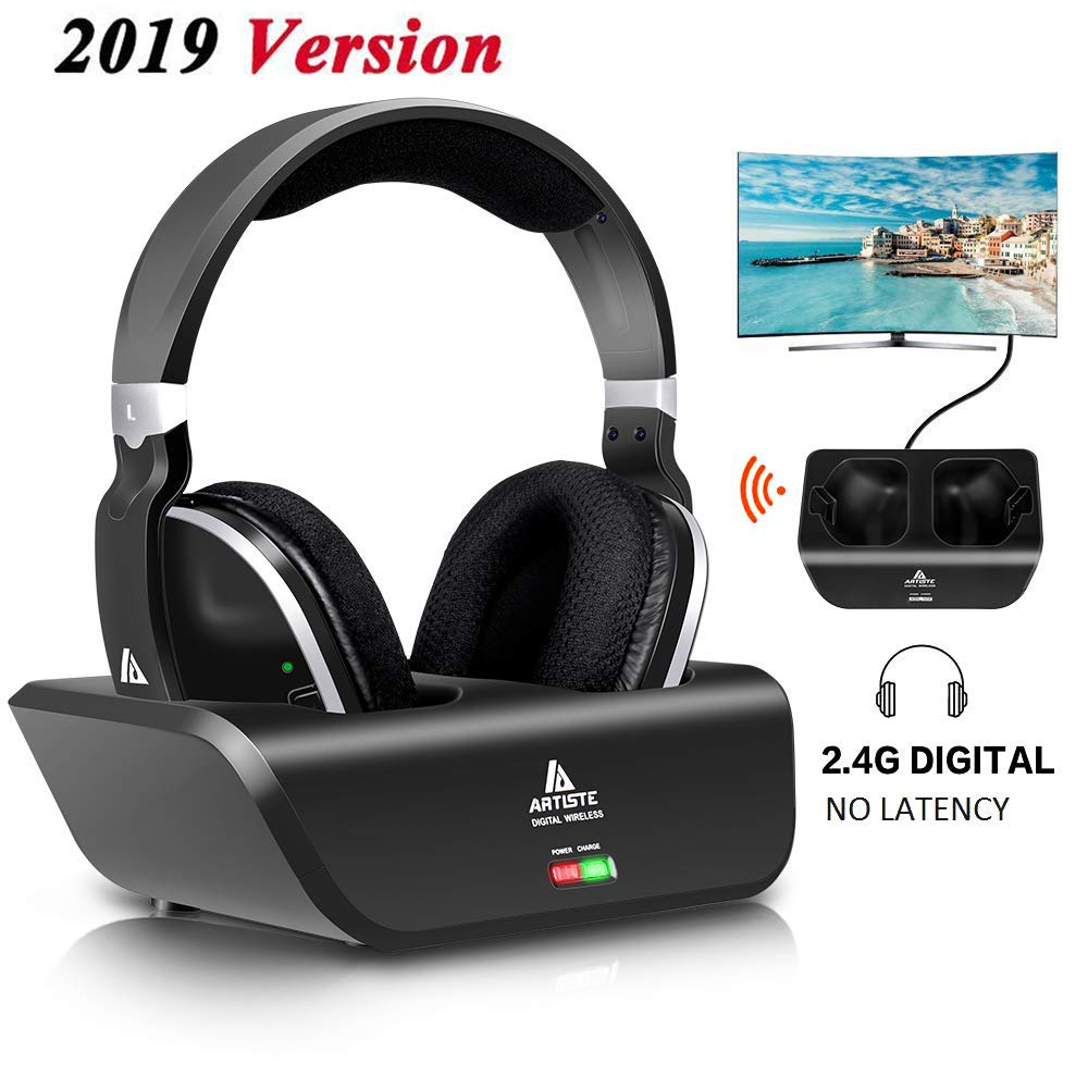 Auriculares Inalambrico TV Over-Ear Monodeal Digital Stereo Headsets con Charging Dock 2.4GHz RF Transmisor NO Latency 2