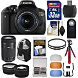 Canon EOS Rebel T6i Wi-Fi Digital SLR Camera & EF-S 18-55mm & 55-250mm IS STM Lens with 32GB Card + Backpack + Tripod + Filters + Tele/Wide Lens Kit