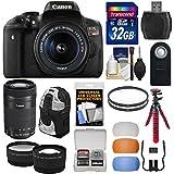 Canon EOS Rebel T6i Wi-Fi Digital SLR Camera & EF-S 18-55mm & 55-250mm IS STM Lens with 32GB Card + Backpack + Tripod + Filters + Tele/Wide Lens Kit