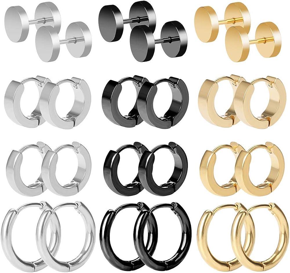 BODYA Mens Hoop Earrings Stainless Steel Stud Hoop Earrings Set for Men Women 18G, 12 Pairs