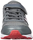 New Balance Boys' 680v5 Hook and Loop Running Shoe, Lead/red, 12.5 M US Little Kid