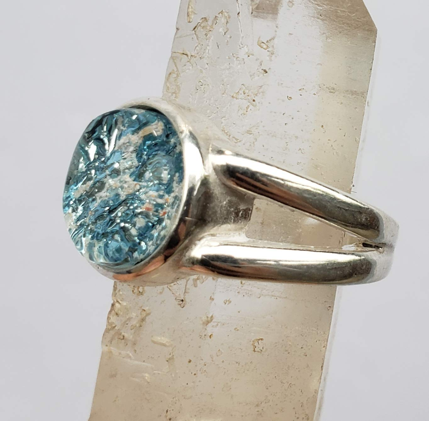 Ashes Ring Sterling Silver and Glass