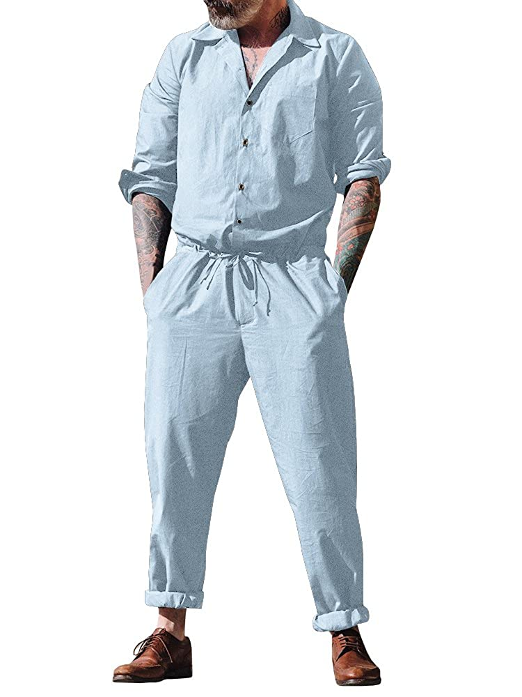 25215b92227 Niitawm Mens Long Rompers Turn Down Collar Shirts Drawstring Jumpsuit  Rompers at Amazon Men s Clothing store