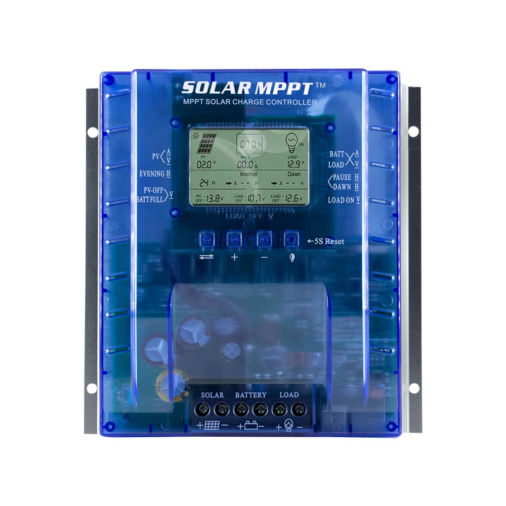 60 amp MPPT Solar Charge Controller, 12V/24V Auto 60A Solar Panel Charge Regulator with LCD Display Max 100V, 780W/1560W Input,for Lead-Acid Battery with Load Timer Setting (MPPT-P60AL) by SOLAR MPPT