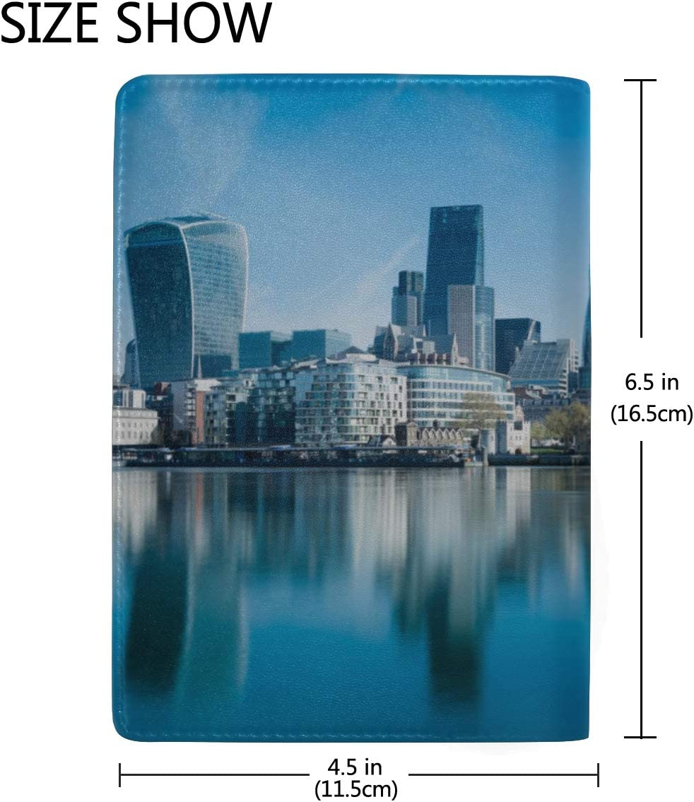 London At Dusk London Eye City Hall Blocking Print Passport Holder Cover Case Travel Luggage Passport Wallet Card Holder Made With Leather For Men Women Kids Family