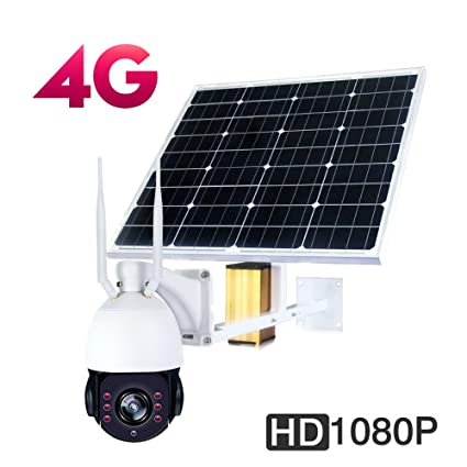 4G Solar WIFI Cámara PTZ, Cámara de seguridad exterior de alta velocidad Panel solar 30000 mAh ...