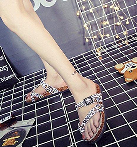 imagen5 la Chanclas Multicolor Verano Abierta Corcho de Sandalia Chanclas Zapatillas Como Sandalias Mujeres Punta Vendaje ZKOO Impresión Playa a5TqwA
