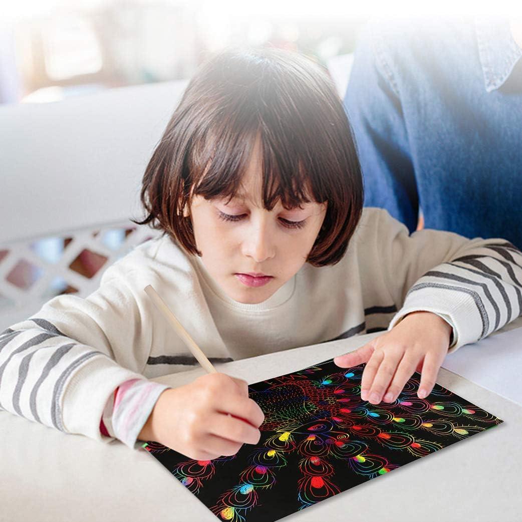 10 Silber 10 Gold 5 Scratcher 19x26cm 4 Schablonen f/ür Kinder /& Maler Yeelan 50 Blatt Scratch Paper Art Zeichnung Crafts Kit Bilderbuch Malen Doodle Boards: 30 Regenbogen