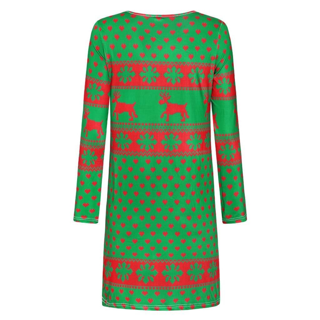 Sweat-shirt Mini robe /à manches longues pour femme T-shirt d/écontract/é Imprim/é renne Joyeux No/ël f/ête V/êtement pour club Blouse Tunique ample cocktail Pull Col rond