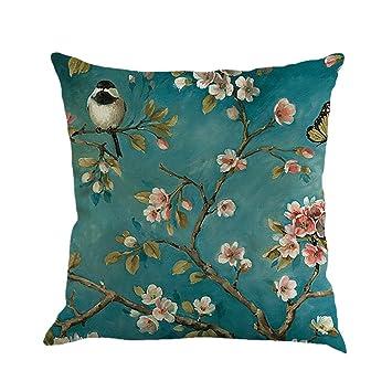 Amazon.com: Luxsea - Funda de almohada cuadrada de lino y ...