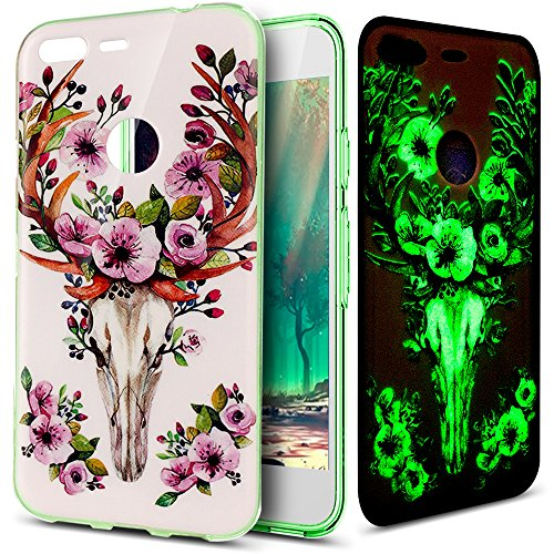 - Google Pixel XL Case,Google Pixel XL Cover,ikasus Ultra Thin Soft TPU Case,Art Painted Luminous Series,Soft Silicone Rubber Crystal Clear Soft Silicone Back Case for Google Pixel XL,Purple Flower Deer