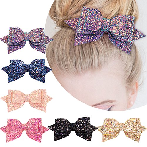 5 Inch Glitter Hair Bows Boutique Hair Clips-6 Pcs Multi Color Glitter Sequins Big Hair Bows for Baby Girls Teens Toddlers