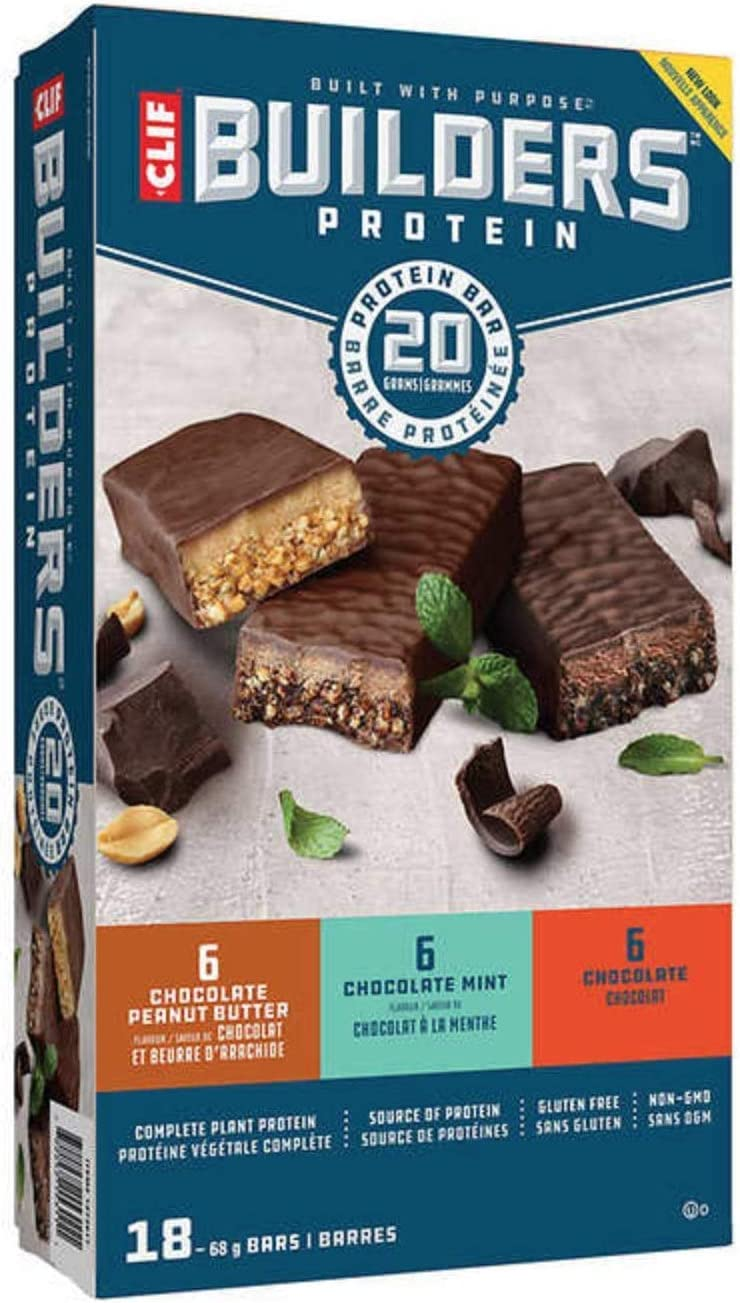 Clif Builder's Protein Bar Variety Pack (Chocolate Peanut Butter, Chocolate Mint and Chocolate) 68 g (2.4 oz), 18 Bars
