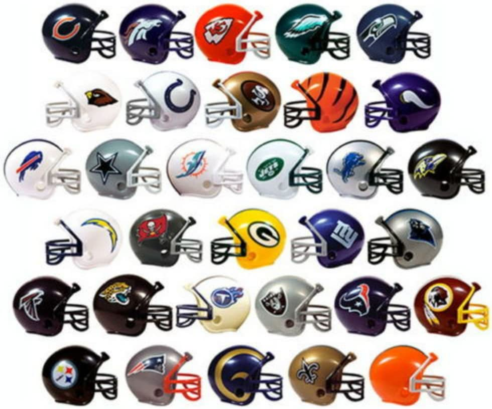 "NFL FOOTBALL SET of 32 TEAM 2"" VENDING HELMETS - NFL Football Team 2"" Vending Helmets Featuring Packers, Dolphins, Titans, Broncos, Buccaneers, Bills, Bears, Falcons, Vikings, Panthers and More"