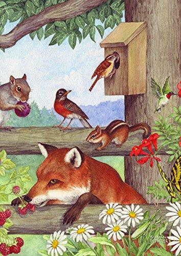 (Toland Home Garden Fox and Friends 28 x 40 Inch Decorative Spring Woodland Birds Cute House Flag)