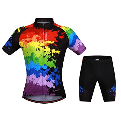 c49f61f55 WOSAWE Mens Skeleton Pattern Short Sleeve Shirt Outdoor Bicycle Cycling  Jersey (Color Suit