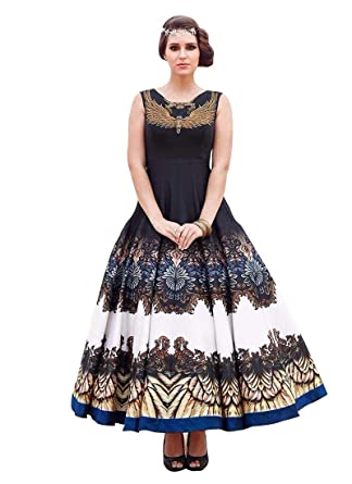 3c04a01bda5 Whatshop New Black   White Colour Floor Touch Semi Stitched Designer  Printed Gown  Amazon.in  Clothing   Accessories