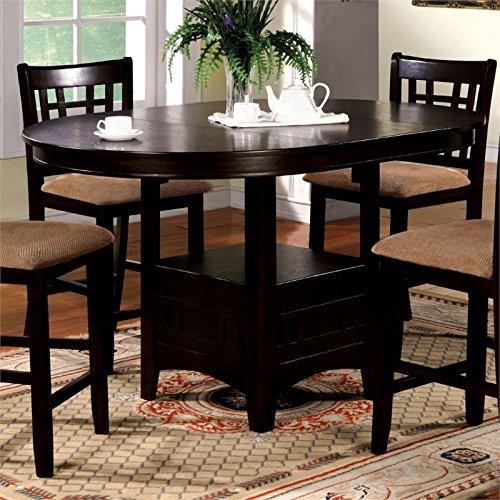 Furniture of America Koline Round Counter Height Table in Espresso (Expandable Round Dining Room Tables)