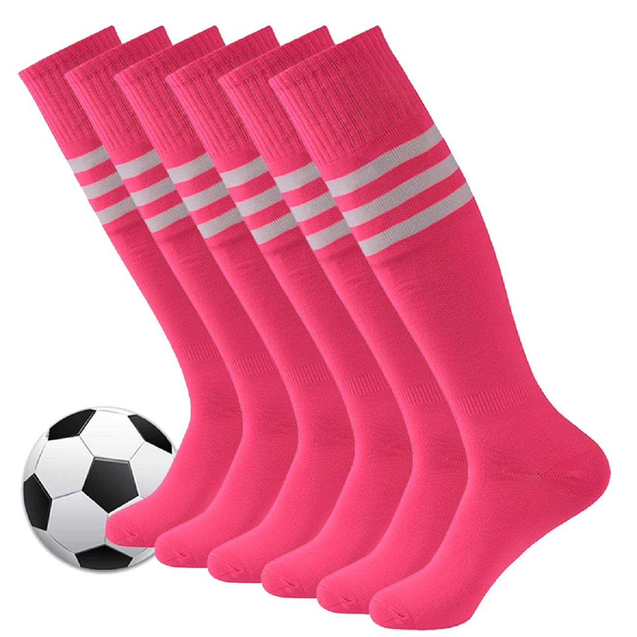 Pink Soccer Socks,Fasoar Mens Womens Long Tube Knee High Team Sports Football Socks 6 Pack Rose Pink White Stripe by Fasoar