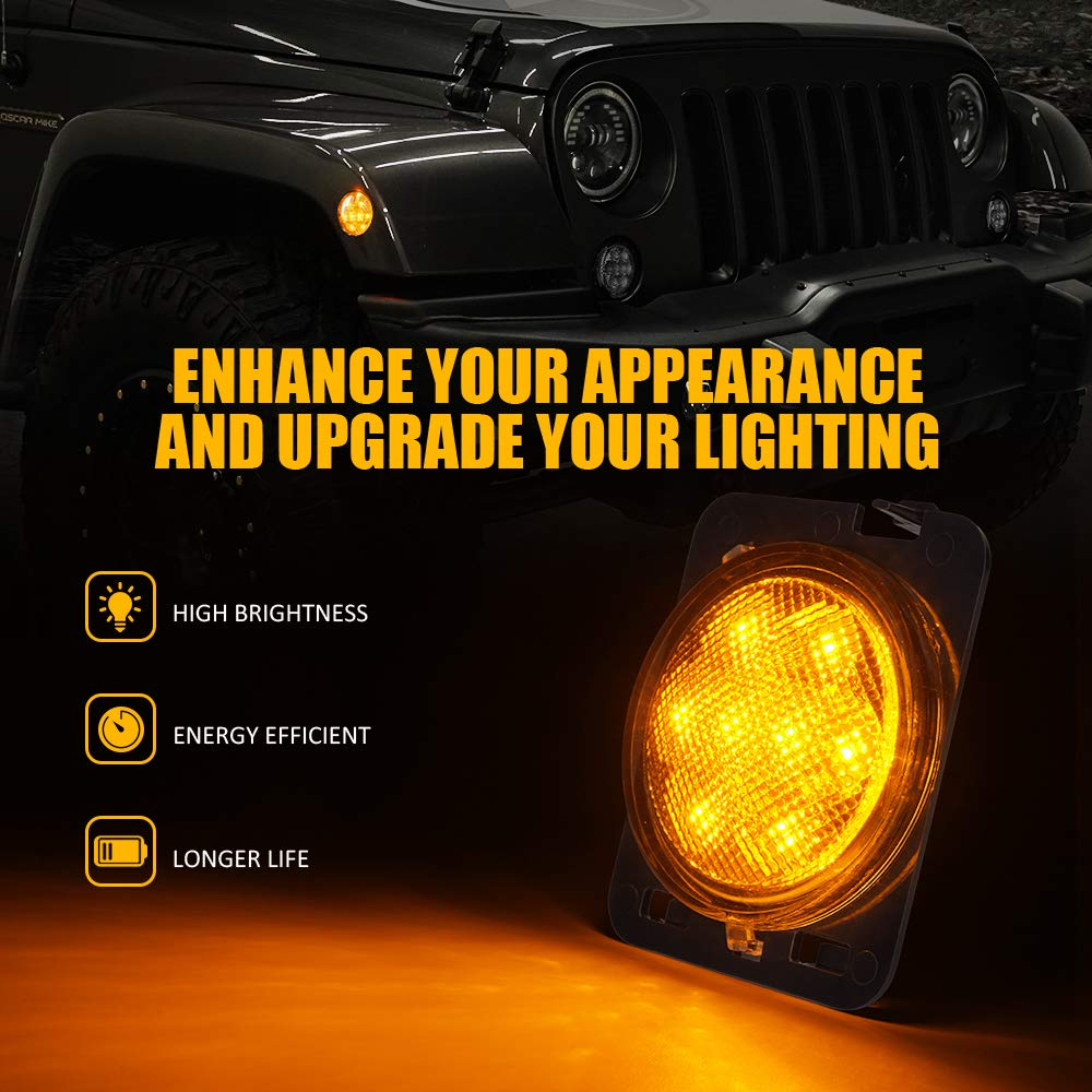 Xprite LED Smoke Lens Turn Signal Lights with Halo DRL and Parking Function /& Front Fender Side Marker Amber Light Assembly Replacement Combo for 2007-2018 Jeep Wrangler JK /& Wrangler Unlimited