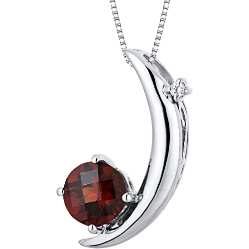 Crescent Moon Design 1.00 carats Round Checkerboard Cut Sterling Silver Rhodium Finish Garnet Pendant