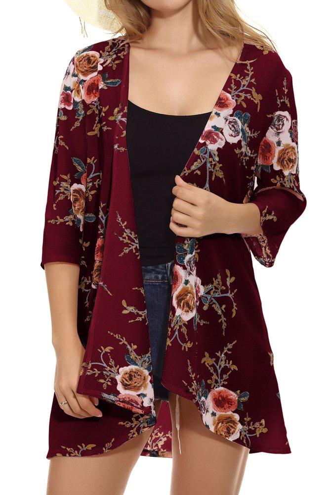 JOELLYUS Womens Kimono 3/4 Sleeve Cover up Floral Chiffon Cardigan Capes (Wine Red, 2XL)