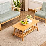 Coffee Table Foldable NNEWVANTE 38.6x19.7 in Large Size Tv Table/Sofa Desk/Computer Table Bamboo Entertainment Table Home Office
