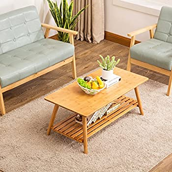 Image of Home and Kitchen Coffee Table, NNEWVANTE Cocktail Table Bamboo End Table Foldable TV Table/Sofa Desk/Center Table Side Table with Removal Storage Shelf for Living Room Furniture No Assembly Large Size 38.6'' x 19.7''