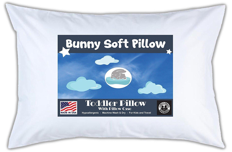 Bunny Soft Pillow Toddler Pillow With Pillowcase, White, 14x19 Agile Rock
