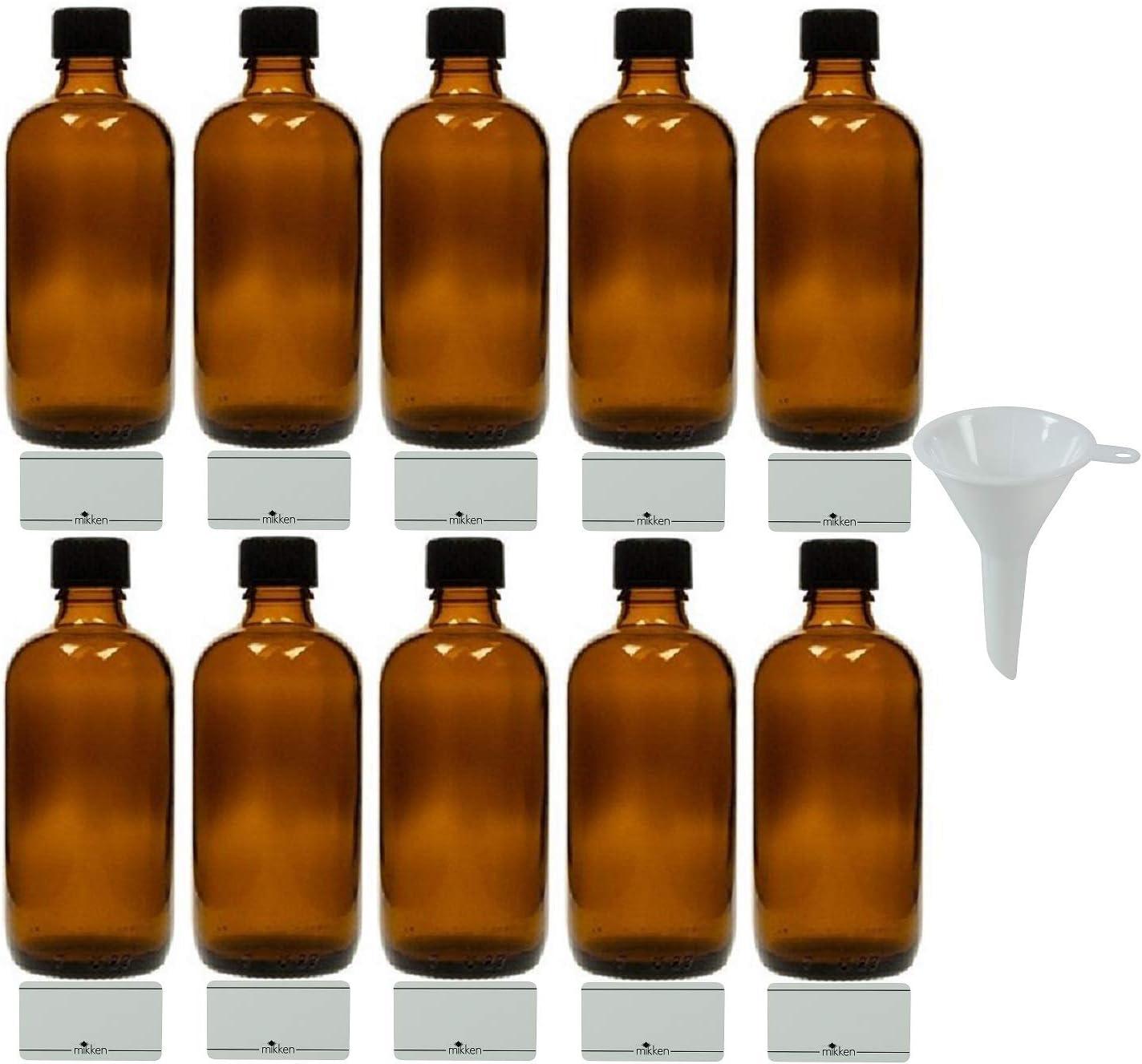 MIKKKEN 10 Botellas de Farmacia Marrones de 100 ml, Fabricadas en Alemania, Incluye Etiquetas de rotulación y Embudo