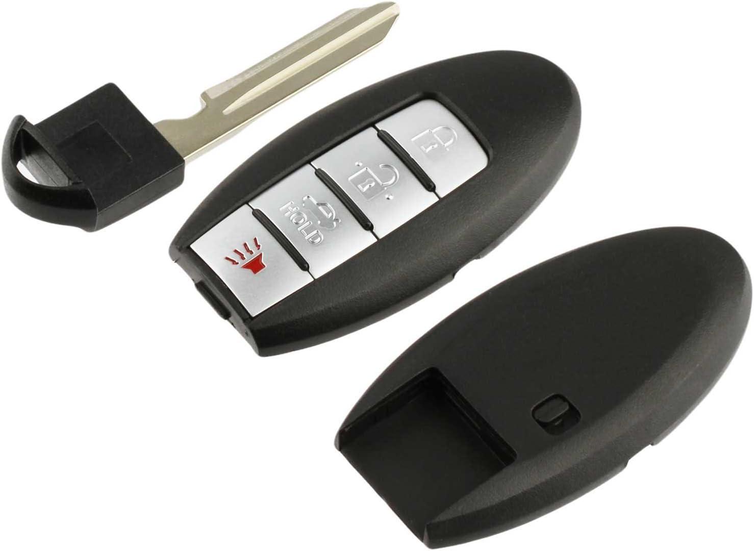 KeylessOption Keyless Entry Remote Smart Car Key Fob Shell Case Cover Valet Insert Blade For Nissan KR55WK49622