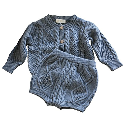 Baby Boys Long Sleeved Cardigan - Wennikids Baby Girls & Boys Twist Knit Long-Sleeved Cardigan Sweater Shorts Clothing Set Large Gray