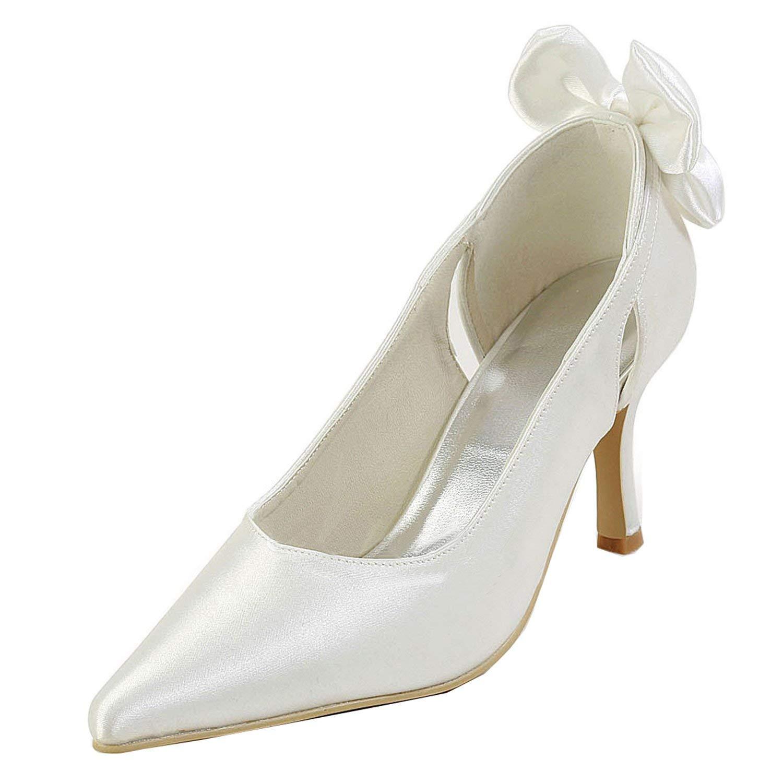 Qiusa GYMZ700 Damen Slip-on Satin Abend Party Prom Braut Hochzeit Schuhe Pumps Sandalen Flatfs (Farbe   Ivory-7cm Heel, Größe   5.5 UK)